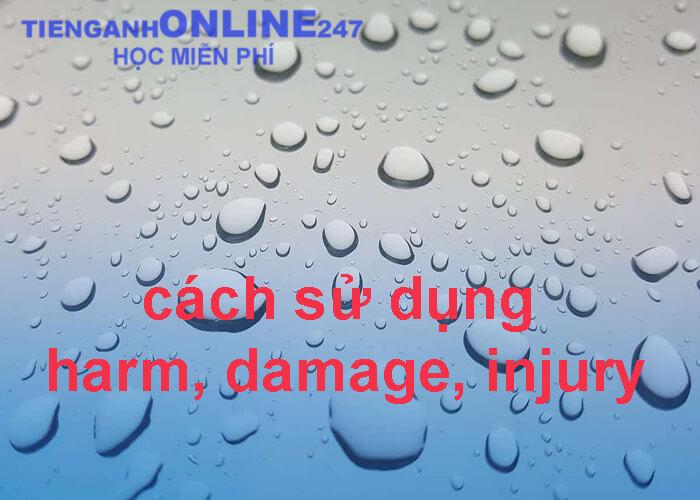 cách sử dụng harm, damage, injury